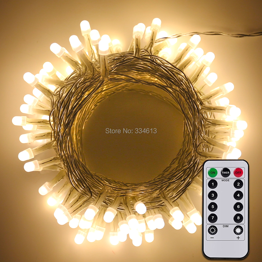 3AA Battery Powered 10M 33FT 100LEDs PVC Wire LED String Rope Lights, Outdoor Starry Lights 8 Mode Dimmable with Remote ...