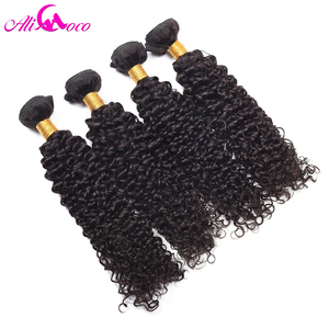 Image 5 - Ali Coco Brazilian Kinky Curly 4 Bundles 100% Human Hair Extensions Natural Color Non Remy Hair Free Shipping