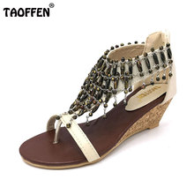 TAOFFEN real high-heeled shoes small yards bohemia national trend beaded plus size women's wedges sandals size 30-43 PA00190