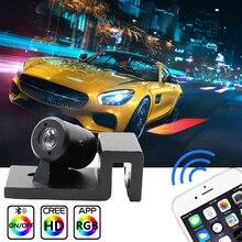 Niscarda 2 sztuk LED kontrola aplikacji RGB Angel Wings witamy oświetlenie samochodu dzięki uprzejmości cień duch lampka drzwi telefon Bluetooth projektor