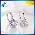 Trendy Genuine Platinum Plated Round Stone Earrings with 4 Colors AAA Zircon For Women Jewelry Gift