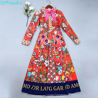 QYFCIOUFU 2018 Summer Dress Women Long Sleeves High Quality Designer Runway Fashion Bow Floral Print Party Long Dress Plus Size