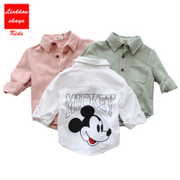 2017 Kids Spring Boys Cotton Mickey Blouses Boy Kids Long Sleeve Shirts Boys Fashion Spring Shirt