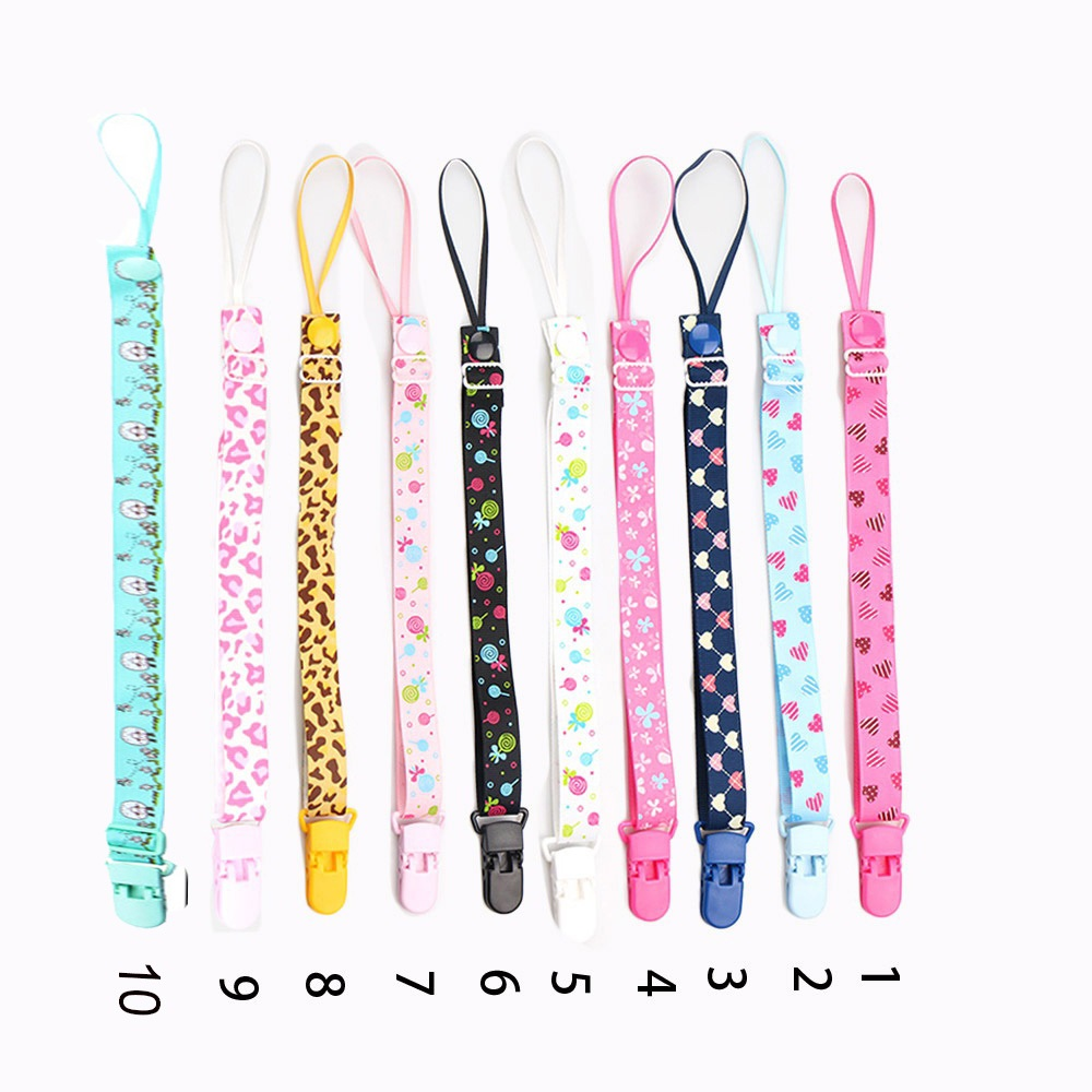 BUY 2 GET 1 FREE Ribbon Dummy Clip Baby Soother Chain Holder Pacifier Strap