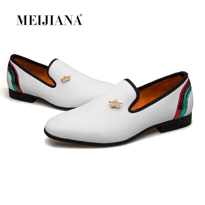 MEIJIANA 2018 New Pure White Metal Casual Shoes Handmade Shoes