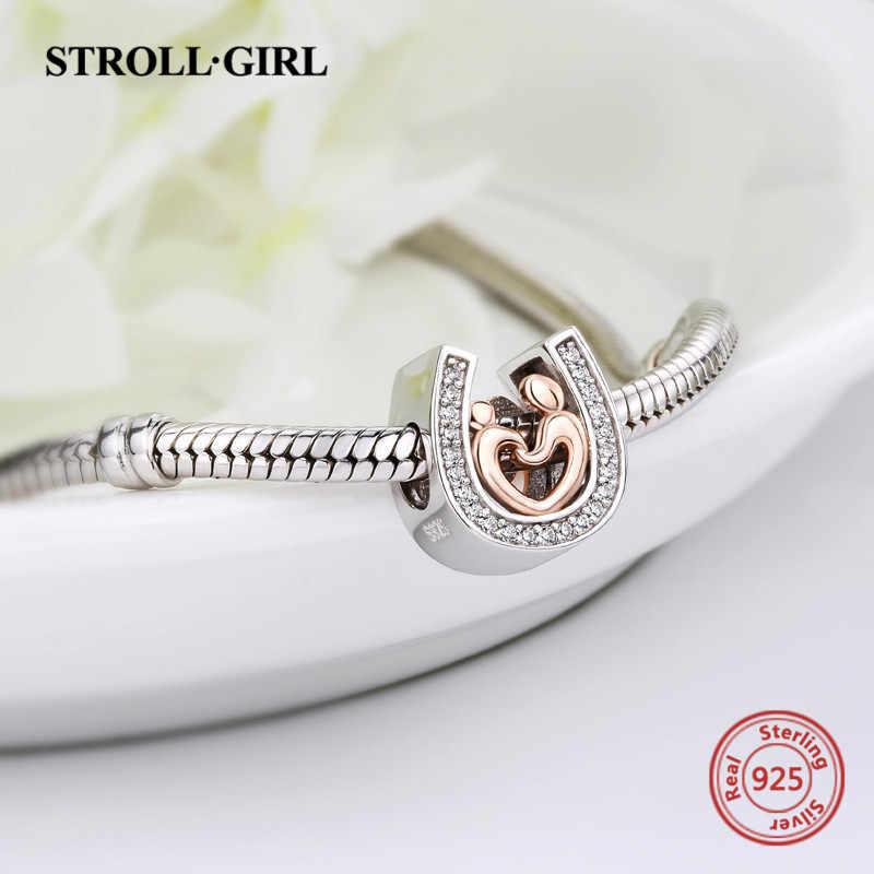 StrollGirl 925 Серебряные бусы лошадь обувь мама и ребенок талисманы подходят Аутентичные Pandora браслет модные ювелирные изделия на День матери подарок