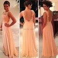 Venda quente rosa Prom vestidos longos apliques Chiffon A linha Backless Sexy vestidos de festa Plus Size mulheres vestido para festa de casamento