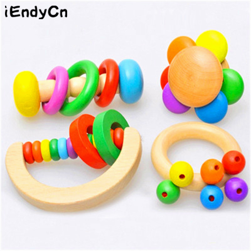 iEndyCn Baby Handling Bell Toys Wooden Bed Bells Catching Bells Children's Educational Toys GXY115