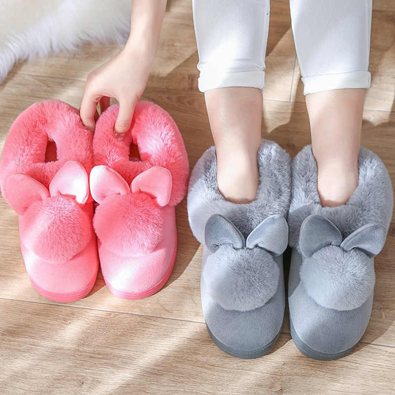 280a9b896a7 Home slippers short plush shoes woman winter warm indoor slippers corduroy  flat with fuzzy shoes rabbit