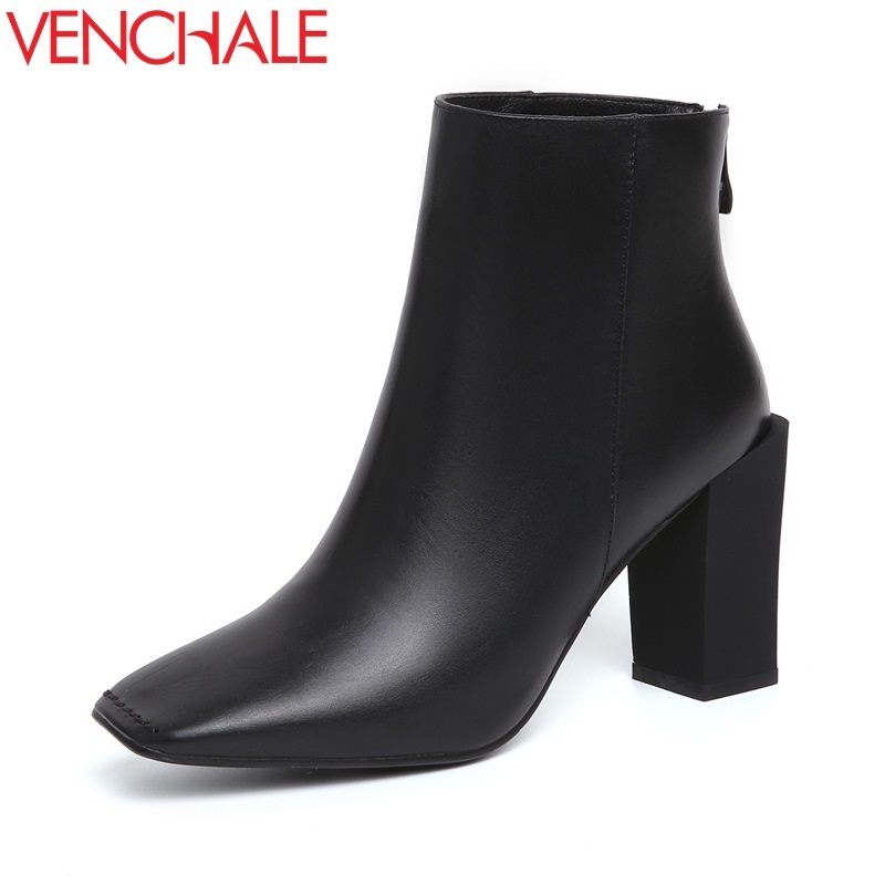 VENCHALE woman fashion ankle boots genuine leather high heels back zipper square toe heel black party booties lady winter boots elite kilter touch switch 1 gang 1 way eu uk standard crystal glass switch panel smart touch wall light switch ac 170v 240v