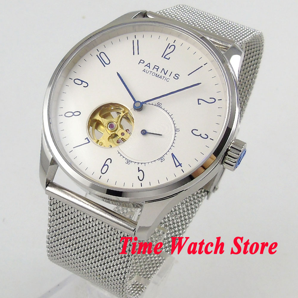 Parnis watch 42mm men's watch sapphire glass white dial 5ATM Golden MIYOTA Automatic movement wrist watch men 1018 luxury brand 42mm parnis white dial sapphire glass miyota automatic movement men s watch
