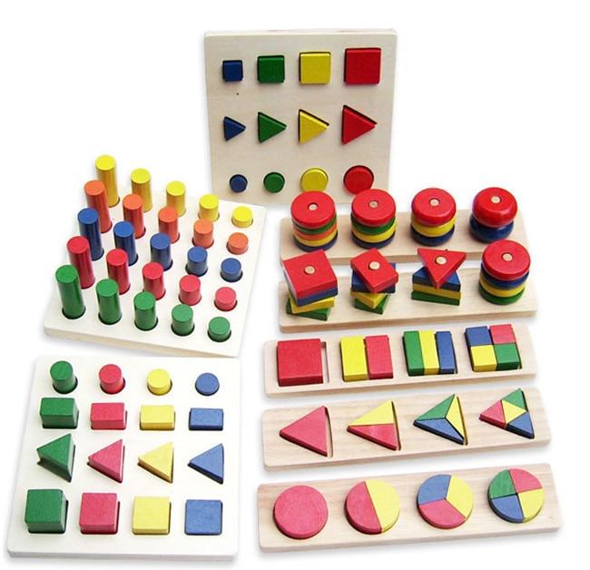 New wooden montessori toy 8 set blocks Early childhood education preschool Montessori teaching MENGTAI Free shipping