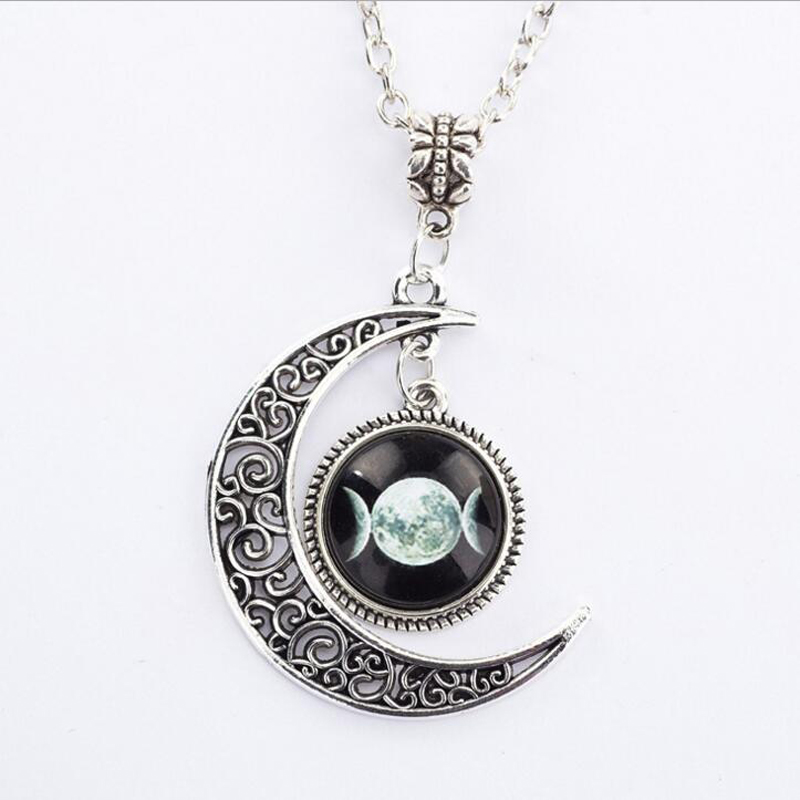 wiccan necklace witch pin jewelry silver goddess witchcraft half triple moon pendant pagan