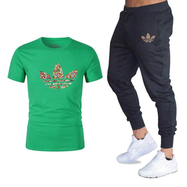 Качество Для мужчин наборы футболки + Штаны Для мужчин брендовая одежда два Костюм из нескольких предметов спортивный костюм модная Повседневное футболки спортивные залы тренировка набор для фитнеса