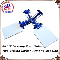 SPE42A Four Color Two Station Single Wheel Desktop Screen Printing Machine