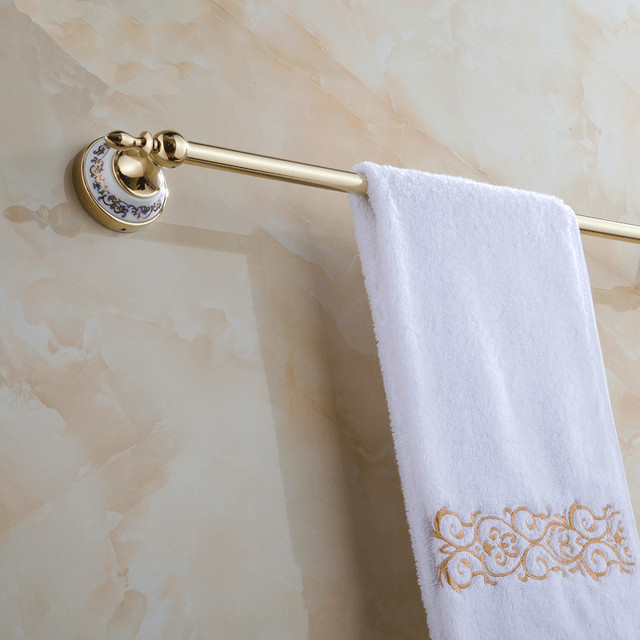 Antique Silver/Gold Towel Bar Ceramic Base Towel Rail Bathroom Accessories  Wall Mounted Towel Holder