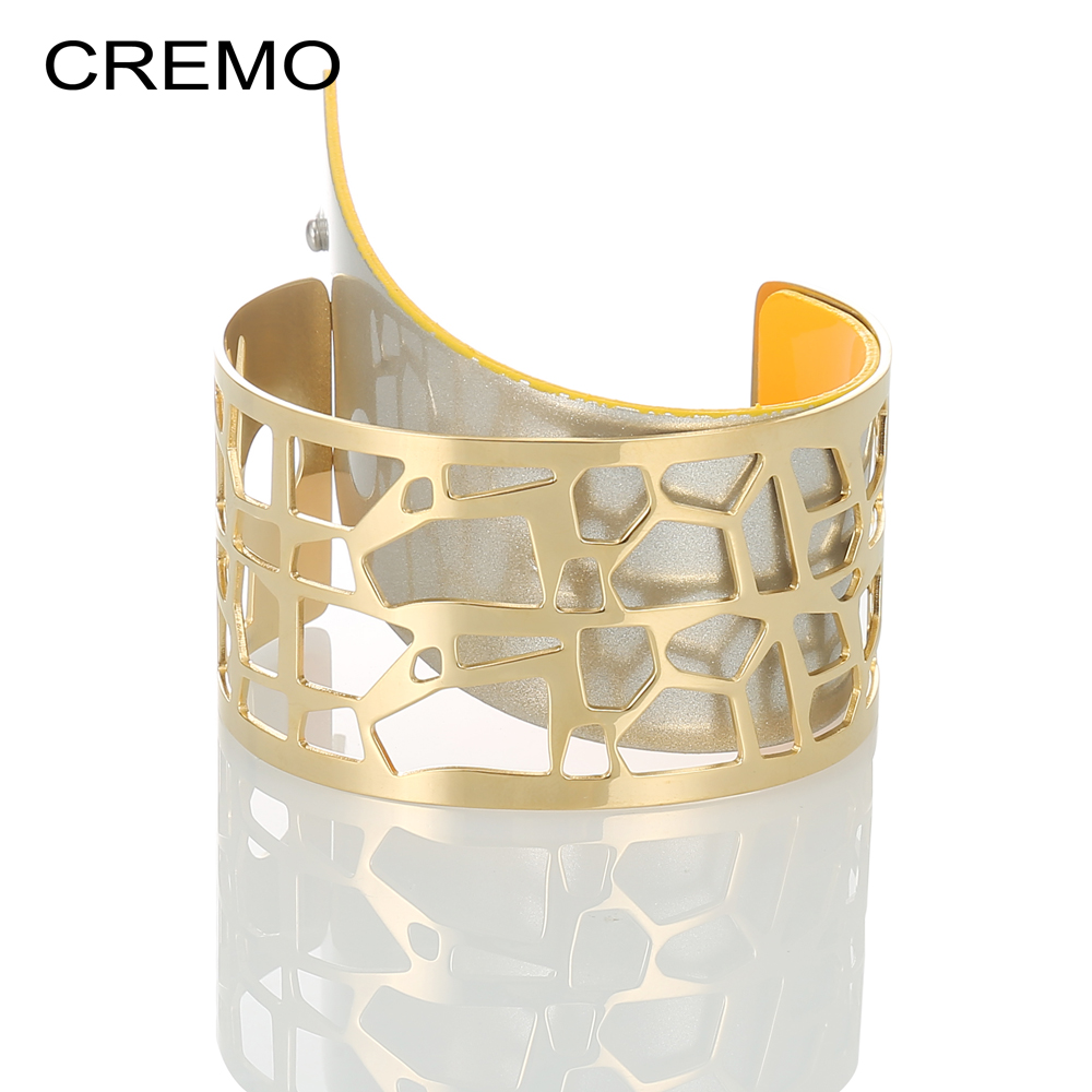 Cremo Giraffe Gold Cuff Bracelets & Bangles For Women Bijoux Stainless Steel Bracelet Manchette Reversible Wide Leather PulserasCremo Giraffe Gold Cuff Bracelets & Bangles For Women Bijoux Stainless Steel Bracelet Manchette Reversible Wide Leather Pulseras