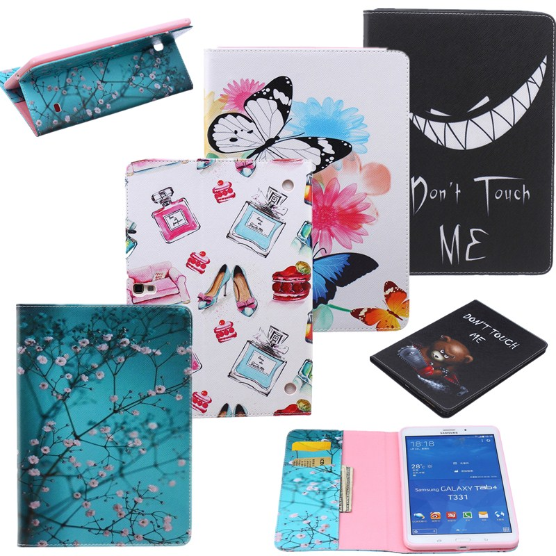 Fashion Paint Girl Case For Samsung Tablet Galaxy Tab 4 8.0 Cases T330/T331/T335 Tablet Cover PU Leather Wallet Case Stand Flip