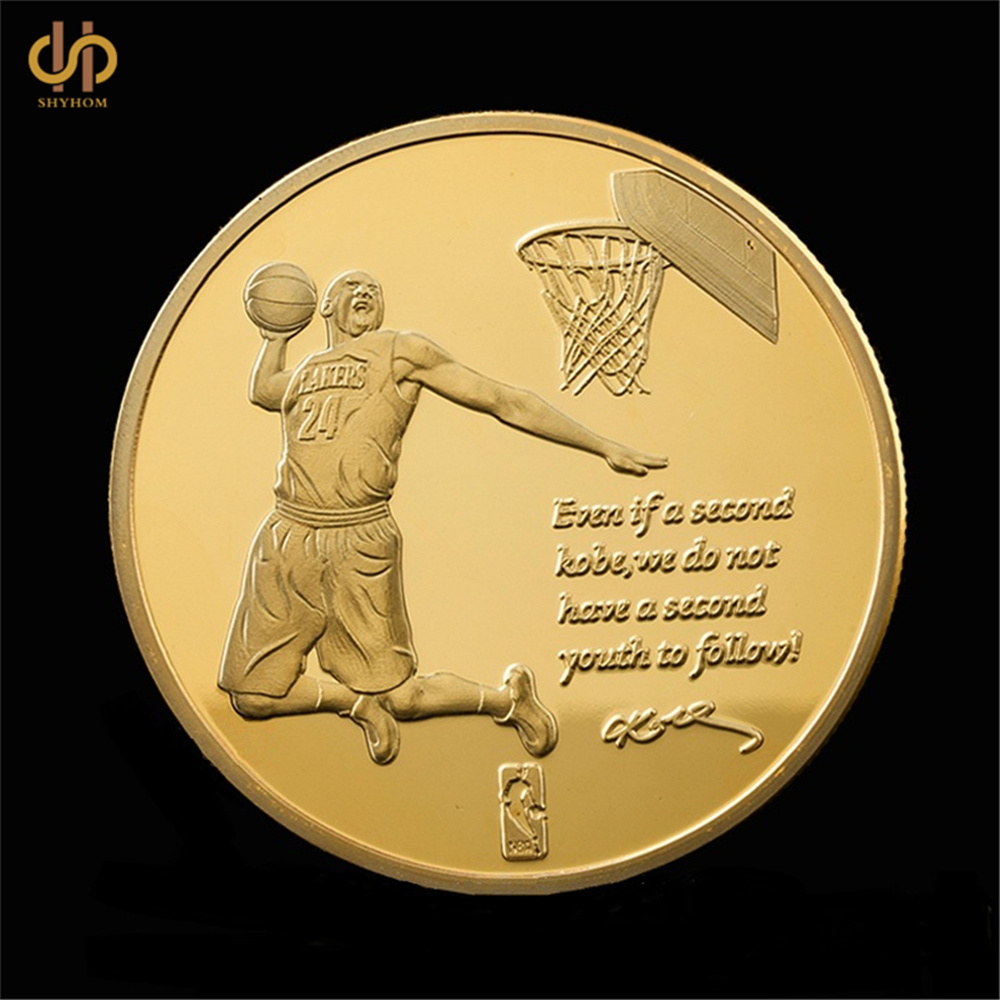 Kobe Bryant Basketball Super Star Gold Commemorative Coin Collection Gift