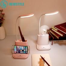 USB Перезаряжаемый Светодиодный настольный светильник с сенсорным затемнением, настольная лампа для детей, для чтения, кабинета, прикроватной кровати, спальни, гостиной