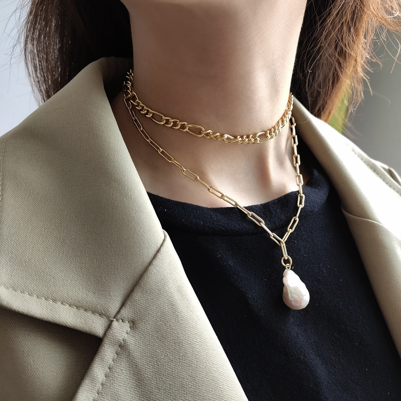 LouLeur 925 sterling silver Baroque pearl necklace gold square chain water drop pendant necklace for women