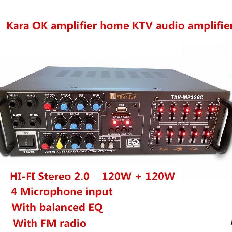 220V-240V 120W+120W TAV-MP326C Professional digital Home karaoke KTV amplifier with EQ equalization FM radio USD SD MP3 Play 220v 240v 200w 200w sunbuck av mp326c professional digital echo mixer amplifier home karaoke amplifier with eq equalization