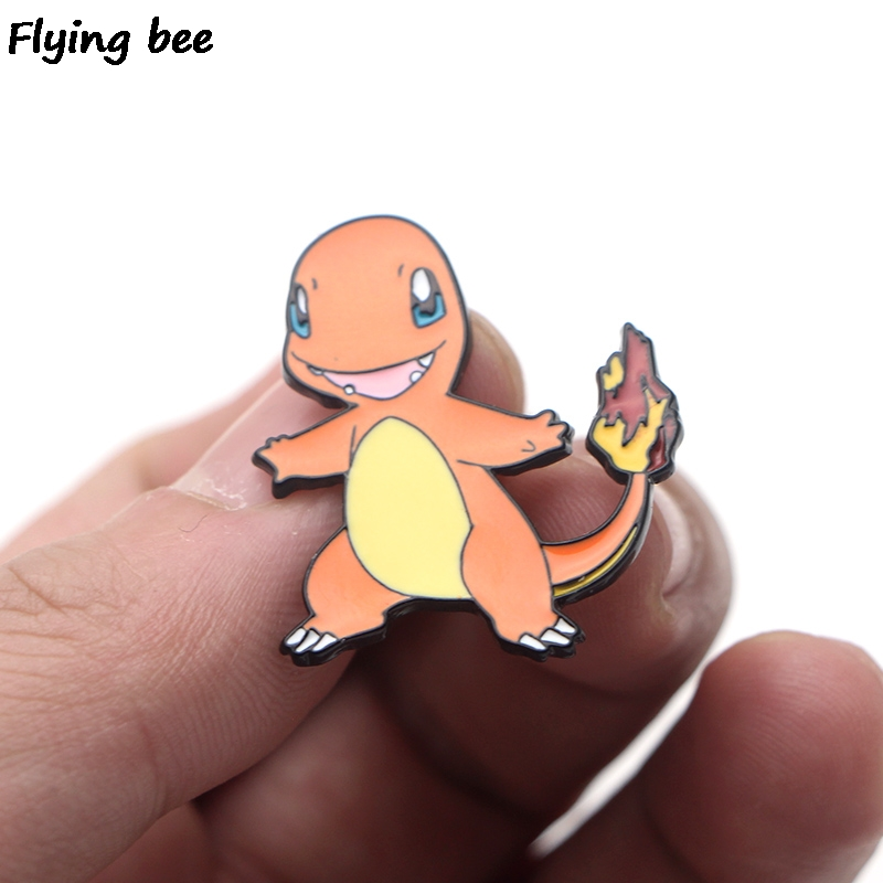 Flyingbee Charmander Cute Enamel Pin For Clothes Bags Backpack badge Personality Brooch Shirt Lapel Pins X0198 in Badge Holder Accessories from Office School Supplies