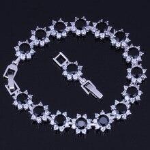 Excellent Round Black Cubic Zirconia White CZ 925 Sterling Silver Link Chain Bracelet 18cm 20cm For Women V0065 real 925 sterling silver 6mm cubic zirconium round cz tennis bracelet bsqd3055