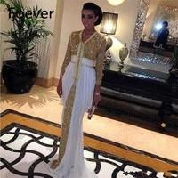 New White Beaded Muslim Long Evening Dresses Luxury Dubai Moroccan Kaftan Dress Long Sleeves Formal dress Evening party gown