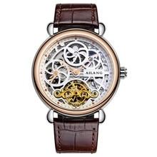 AILANG Esqueleto Tourbillon Reloj Superior de la marca de lujo de Los Hombres de Negocios reloj de Pulsera Para Hombre Tourbillon Mecánico Automático del Reloj de regalo