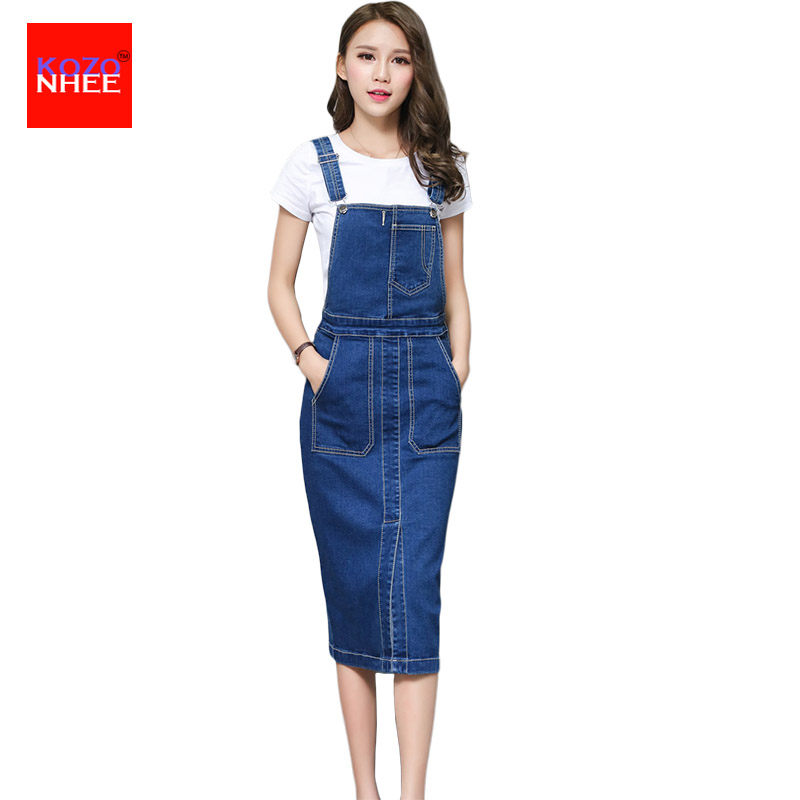 Summer Fashion Long Overall Denim Dress Women Sexy Behind Split Mid calf Pocket Female Jumper ...
