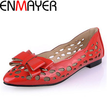 ENMAYER New Fashion 5 Colors Pointed Toe Cut-Outs Patent Leather Bow Flats Shoes for Women Big Size 34-43 Flats Ballet Shoes
