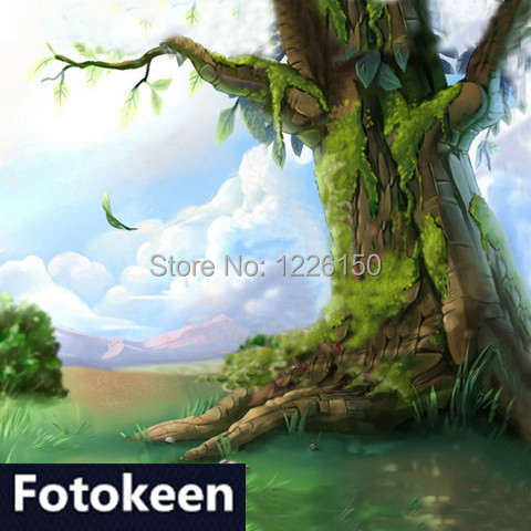 10ft*20ft Hand Painted Mysterious Forest muslin Backdrop, photography studio FC0075,cloth photography background,photo backdrop photo studio photography 10ft x 20ft 3m x 6m studio solid background muslin backdrop green 100% cotton high quality psb3b