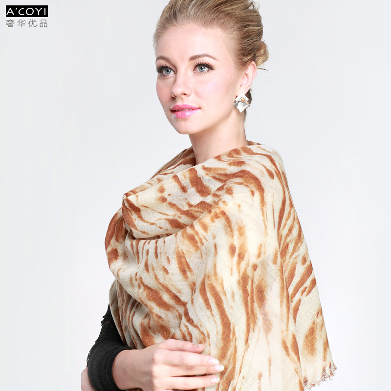 Gift box wool zebra print scarf female version of the autumn and winter thickening all-match cape dual-use ultra long paragraph