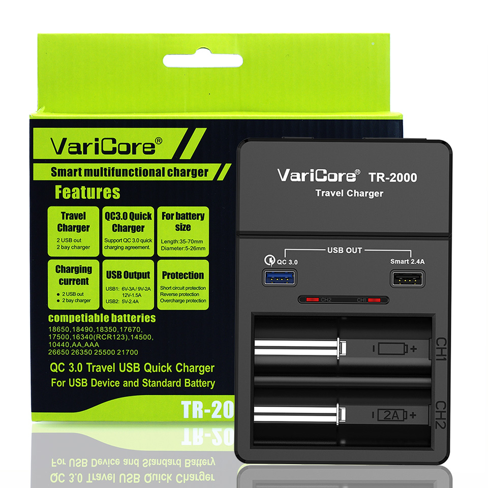 VariCore TR 2000 e cigarette battery charger Quick Charge 3,0 for 18650 26650 AA AAA batteries and QC 3,0/USB 5V mobile devices.