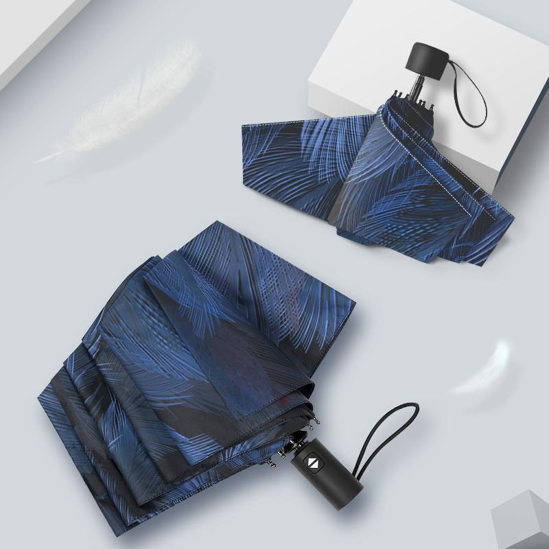 Art plume vêtements de pluie Unique parapluie crème solaire Uv bleu entièrement automatique ultra-léger Parasol fort Ombrelli 50ys010