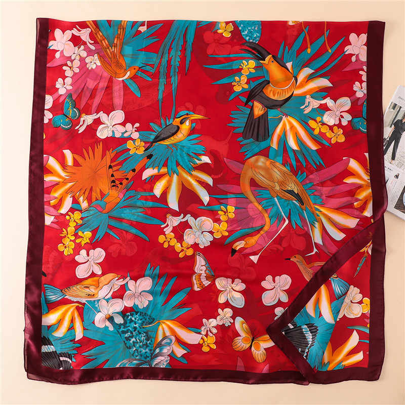 Frauen Papagei Muster 100 Natürliche Seide Schal Luxus Designer Vogel Wraps und Schals Marke Lange Foulard Bandana Strand Abdeckung-ups Neue