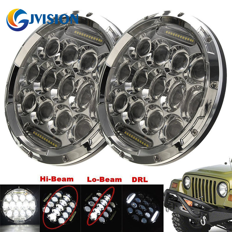Pair 7'' Motorcycle led headlight with H4 Plug H4-H13 Adapter for Jeep Wrangler JK TJ FJ Cruiser Trucks Off Road lights 1pcs 7 80w headlamp led headlight with drl for jeep wrangler jk tj fj harley off road lights high low beam new free shipping