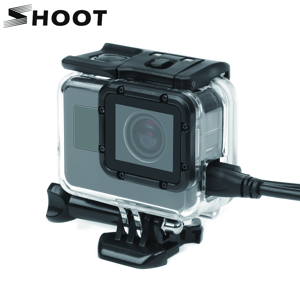 SHOOT Standard Side Open Protective Case for GoPro Hero 7 6 5 4 Black Silver Cam Protector For Go pro hero 7 6 Camera Accessory protective plastic side open case w lens for gopro hero 3 deep pink black