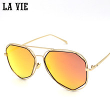 LA VIE 2016 Vintage Men Metal Polarized Sunglasses Mirror Coating Pilot Sunglasses for Women's Gafas de sol de las mujeres #2605