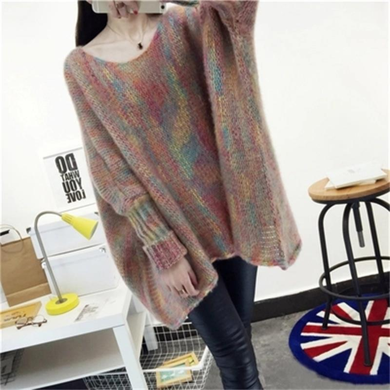 High Quality Fashion Rainbow Stripe Knit Sweater Women Pullover Chic Loose Oversized Sweater Women Fall Winter Pullover
