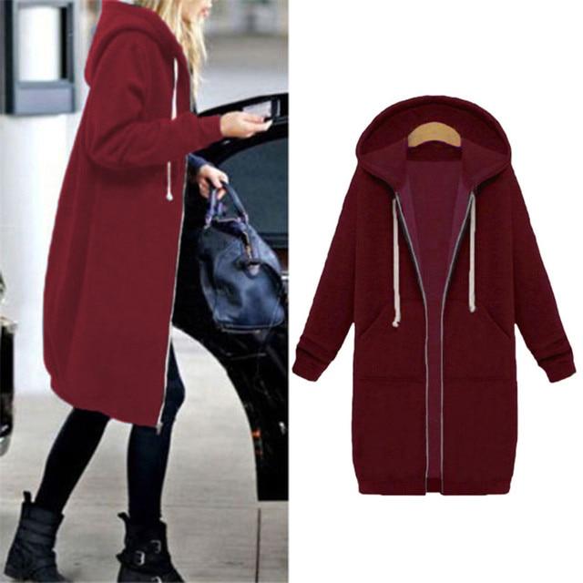 Autumn Winter Coat Women 2019 Fashion Casual Long Zipper Hooded Jacket Hoodie Sweatshirt Vintage Outwear Coat Plus Size 3