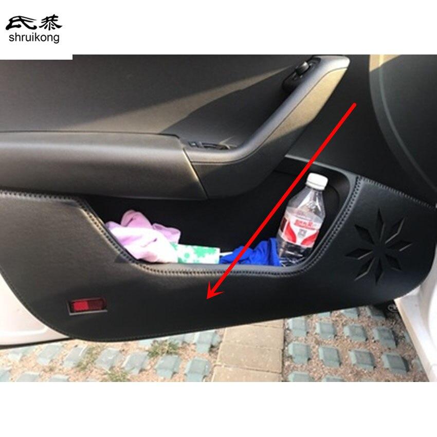 255afcb44 O envio gratuito de 4 pçs lote para 2015 2016 2017 SKODA Octavia couro PU  acessórios do carro adesivos de carro porta proteção pontapé tampa