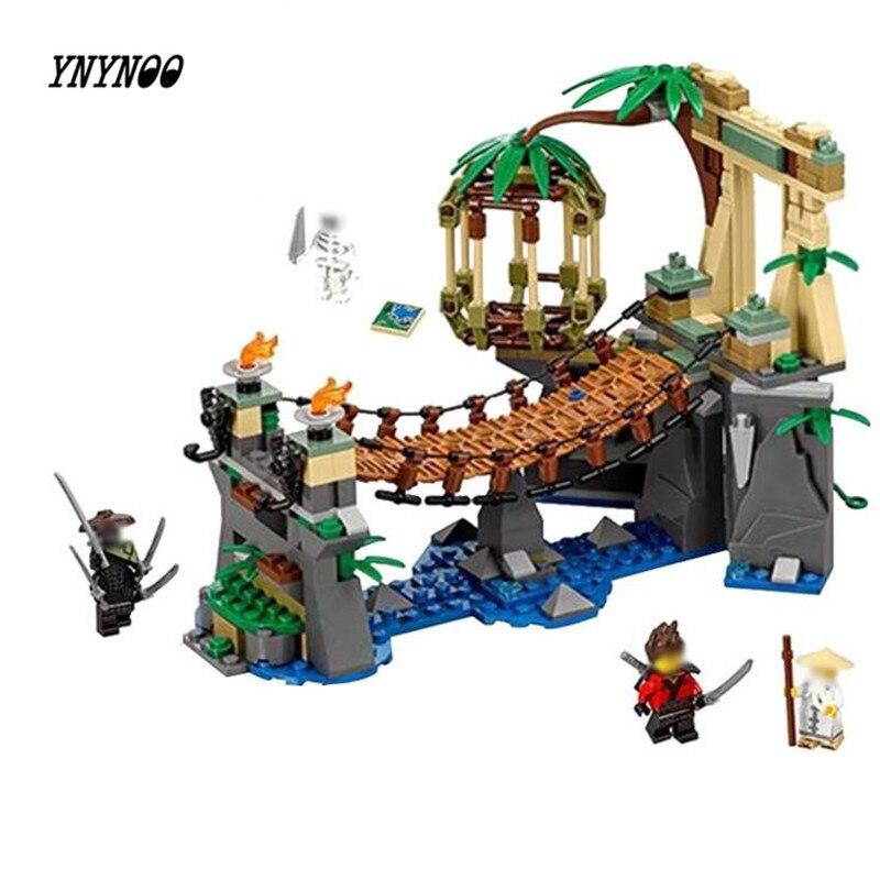 цена на YNYNOO 334pcs 06059 New Ninja Master Falls Jungle Tree Bridge Model Building Blocks Children Assemble Toys Bricks Christmas gift