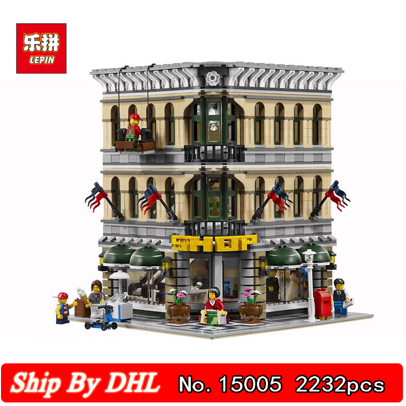 DHL LEPIN 15005 Street View City Grand Emporium Building Blocks 2232pcs Bricks Educational Children Toys Gift Compatible 10211 compatible lepin city mini street view building blocks chinatown satin silk store with saleman figures toys for children gift