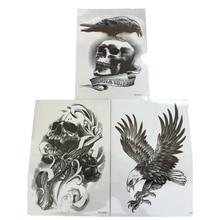 3Pcs Body Art Henna Tattoo Paste Black Skull Crow Eagle Waterproof Fake Temporary Tattoos Cool Stuff 3D Transfer Tattoo Stickers