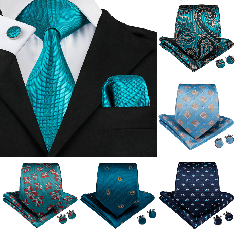 2019 DiBanGu Top Blue Mens Tie Clip 100% Silk Neck Tie 150cm Long Tie Hanky Cufflinks Tie For Men Business Wedding Party Tie Set