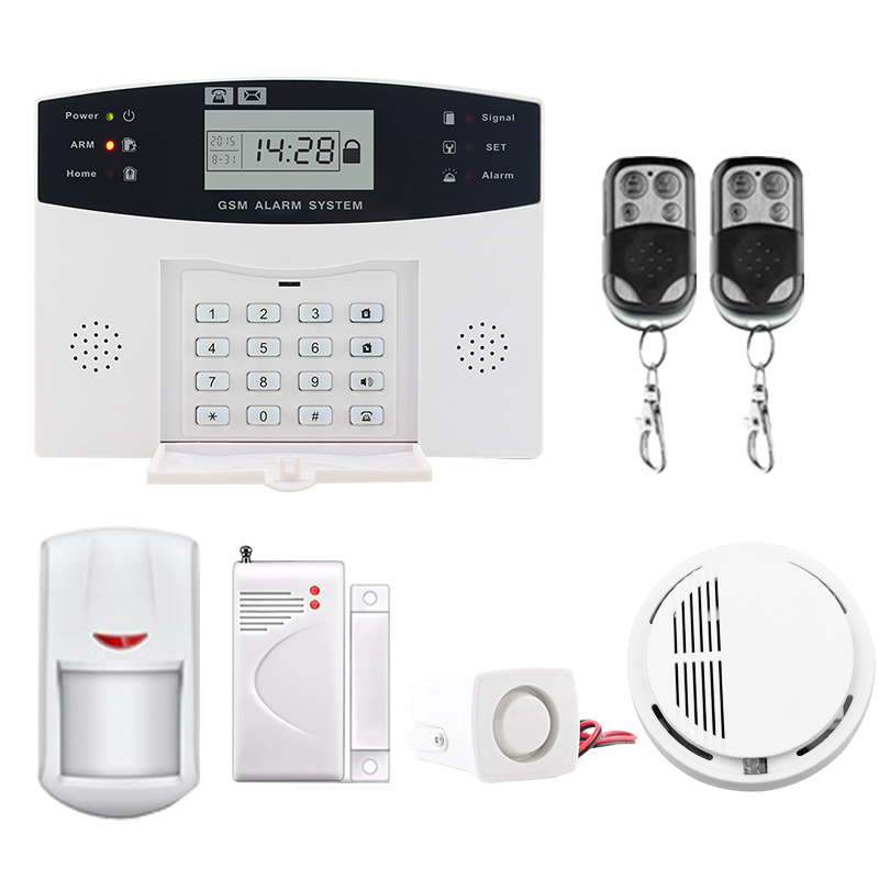 Saful LCD Display Wireless Home Security GSM Alarm System SMS Smoke Sensor Russian/English/Spanish/French voice russian french spanish voice quad band gsm home security alarm system gsm sms intercom lcd display with door security sensor