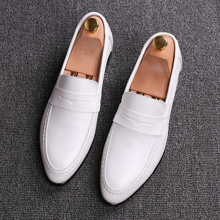 men black white business wedding dress breathable genuine leather shoes slip-on oxfords shoe point toe gentleman loafers sapatos top quality crocodile grain black oxfords mens dress shoes genuine leather business shoes mens formal wedding shoes