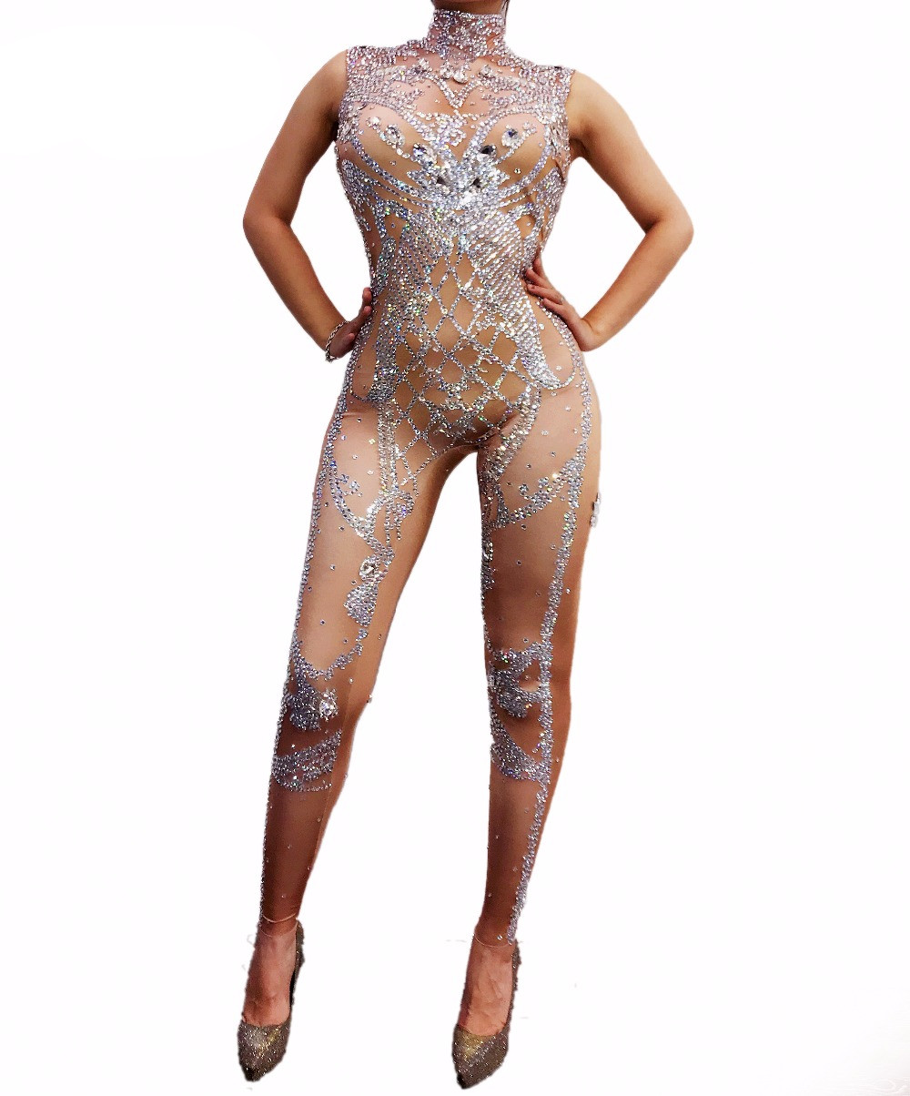 New Sparkly Silver Crystals   Jumpsuit   Women Birthday Celebrate Nude Costume Female Singer Bling Bodysuit Performance Dance Wear